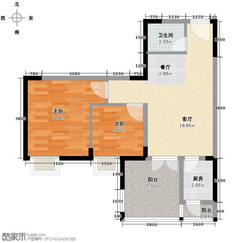 华宇金沙时代50.93㎡一期15号楼标准层02号房户型2室1厅1卫1厨