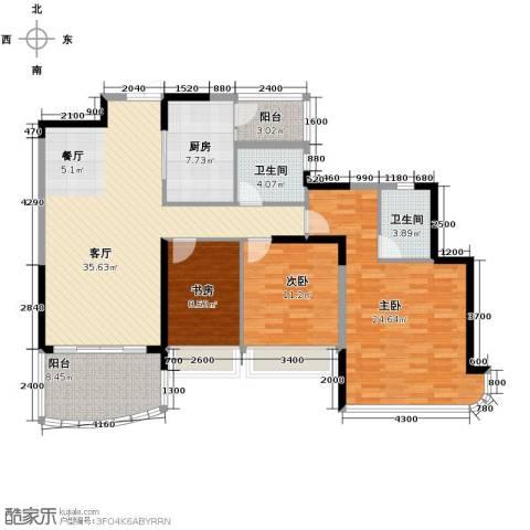 广州雅居乐花园3室1厅2卫1厨139.00㎡户型图