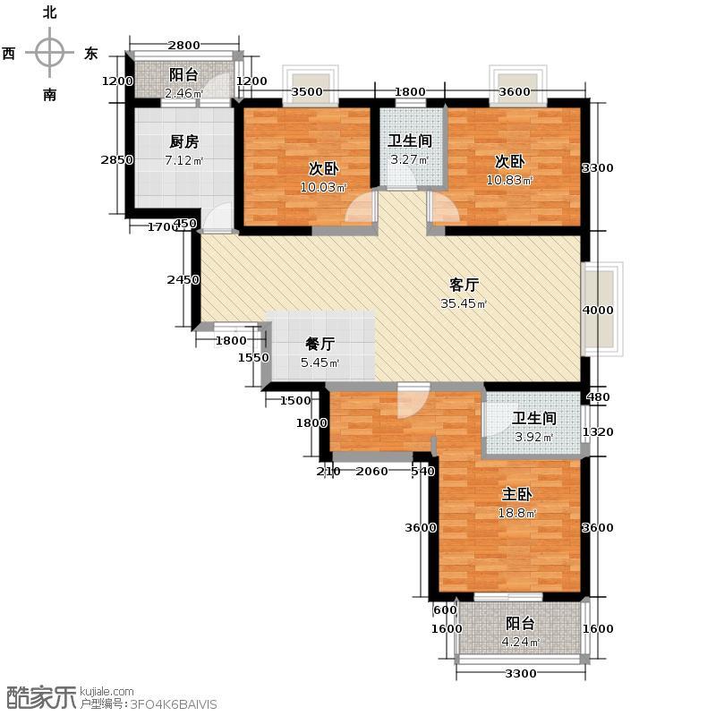 铭城16号139.07㎡1号楼D赠户型3室1厅2卫1厨
