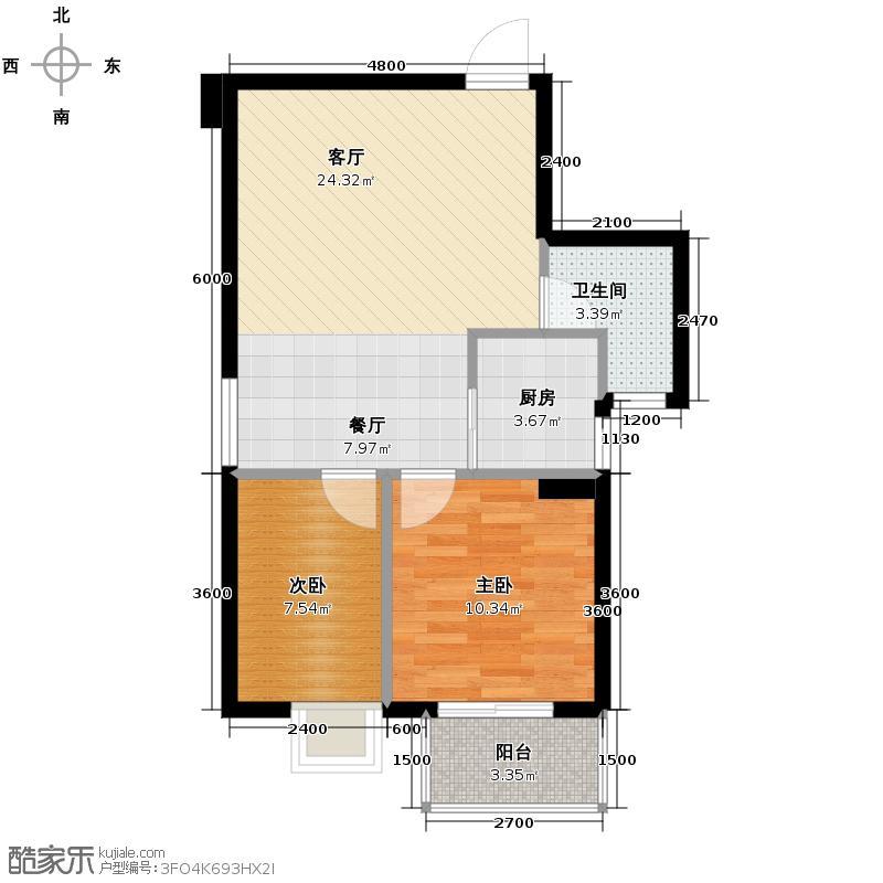 福志雅筑74.00㎡一期B户型2室2厅1卫