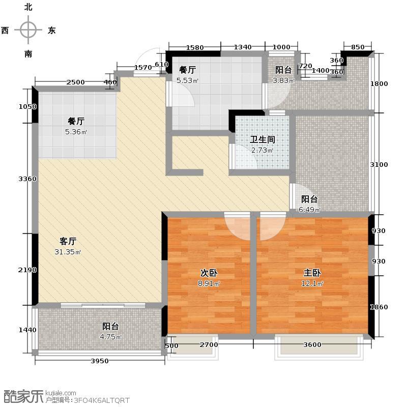 金地格林春岸世家别墅92.00㎡5、6#楼1单元02#房2室户型2室2厅1卫