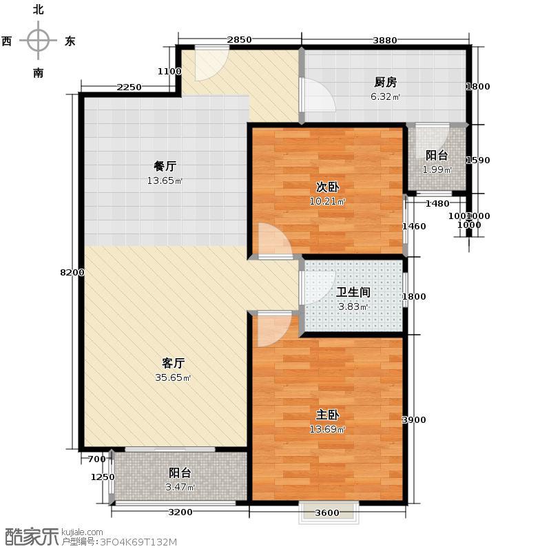 旭景崇盛园92.00㎡户型2室2厅1卫