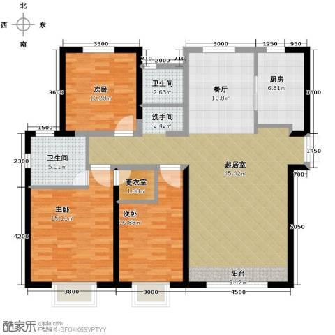 路劲太阳城3室2厅2卫0厨143.00㎡户型图