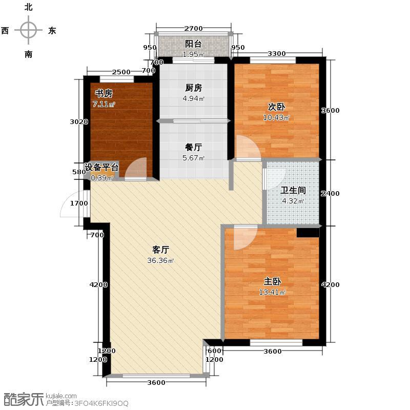领秀朝阳122.41㎡7、8号楼A15户型3室2厅1卫