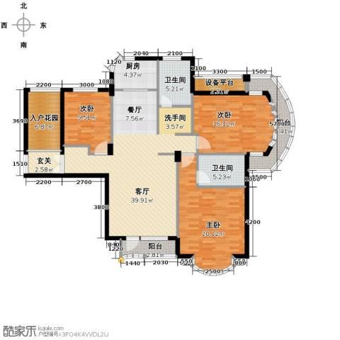 玉兰公寓3室1厅2卫1厨151.00㎡户型图