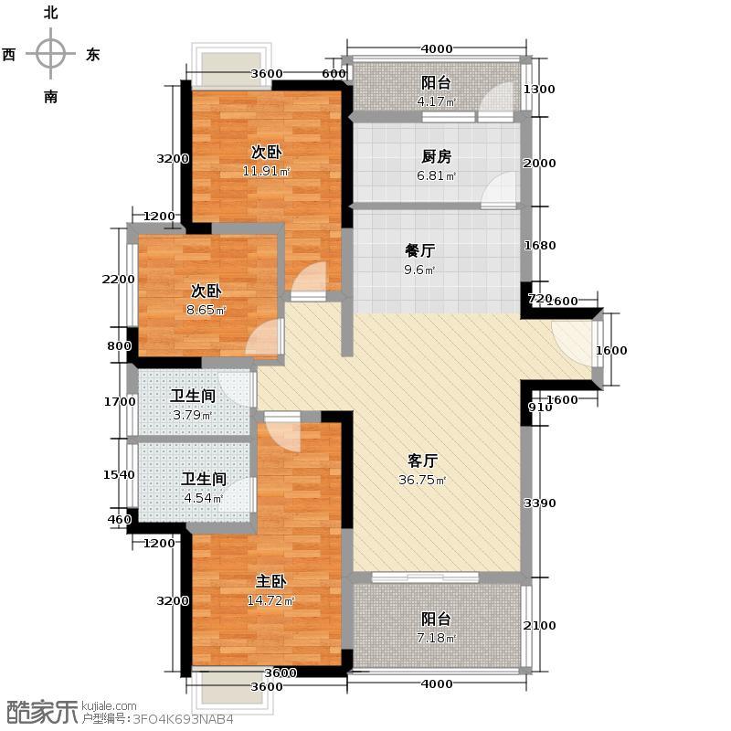 重庆总部城112.56㎡G3号楼B1户型3室2厅2卫