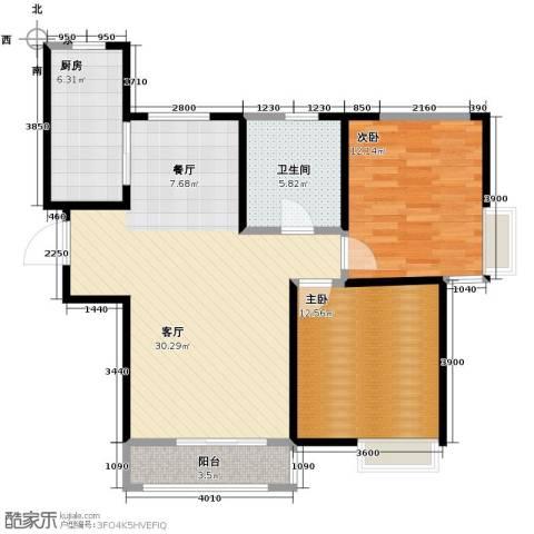 南益名士华庭2室2厅1卫0厨105.00㎡户型图