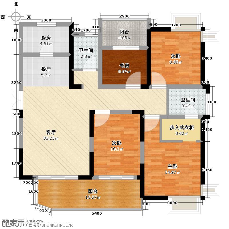 五矿万境水岸138.50㎡7号栋户型4室2厅2卫