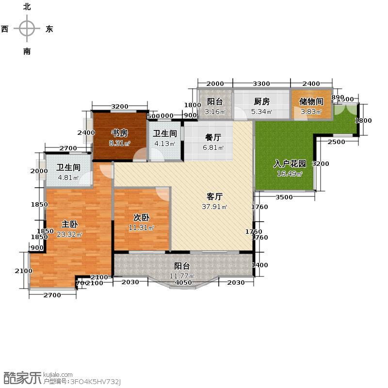 天骄年华103.61㎡房型户型3室1厅2卫1厨