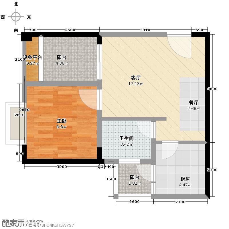 芸峰天梭派47.97㎡2期4号楼1/6号房双阳台户型1室1厅1卫1厨