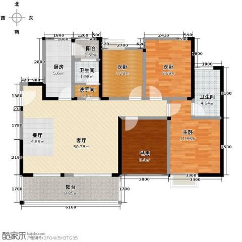 银诚东方国际4室2厅2卫0厨115.00㎡户型图