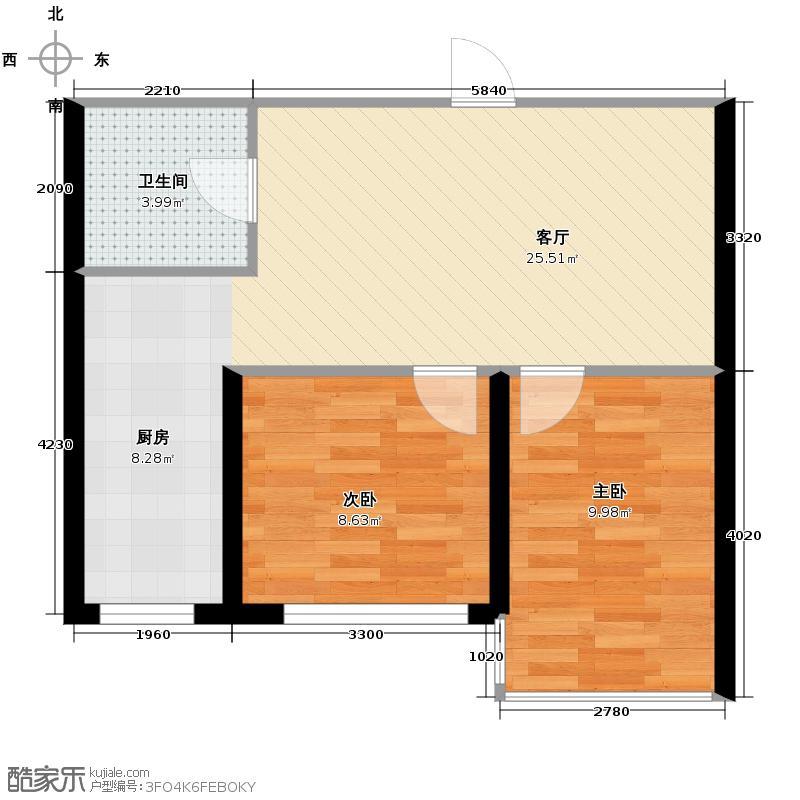 中金名筑53.65㎡J户型2室1厅1卫