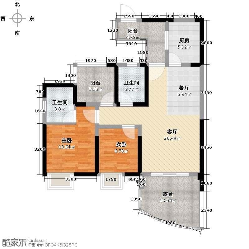首创东公元88.32㎡一期1314栋J3户型2室1厅2卫1厨