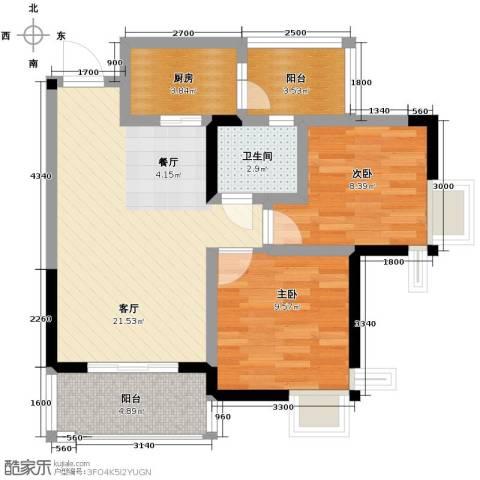 大鼎世纪滨江2室2厅1卫0厨57.00㎡户型图