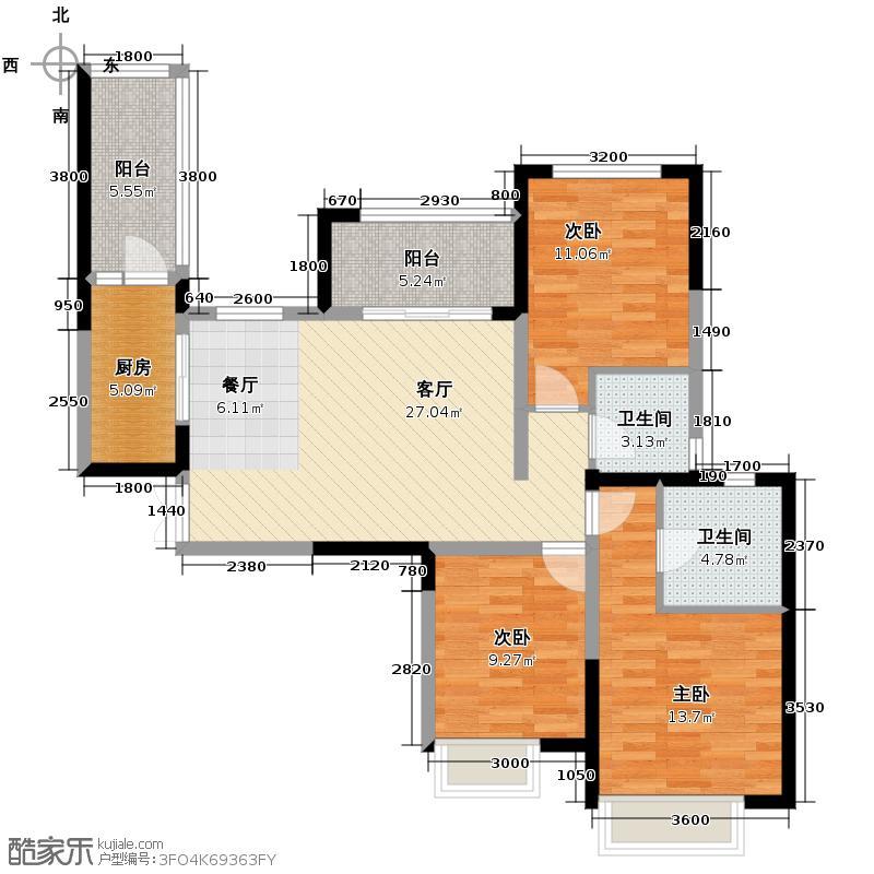 世豪峰景109.00㎡D2户型3室2厅2卫
