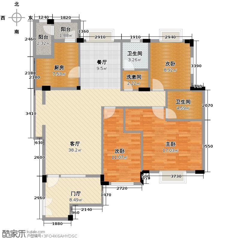 伴山蝶墅121.34㎡B入户花园+双阳台户型3室2厅2卫