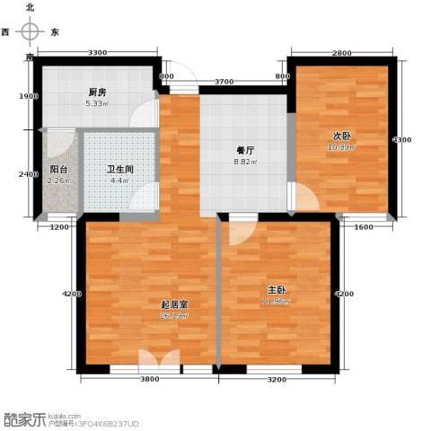 泽天下2室2厅1卫0厨87.00㎡户型图