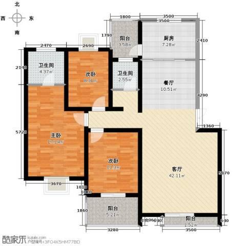 汇城上筑3室1厅2卫1厨118.09㎡户型图