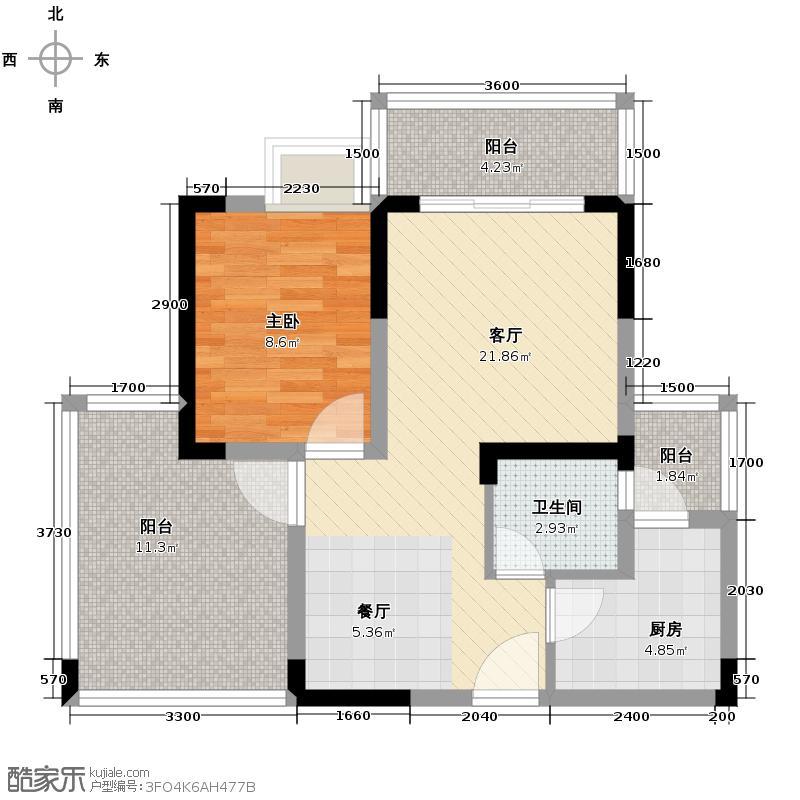 观澜国际63.84㎡二号楼D2户型2室2厅1卫
