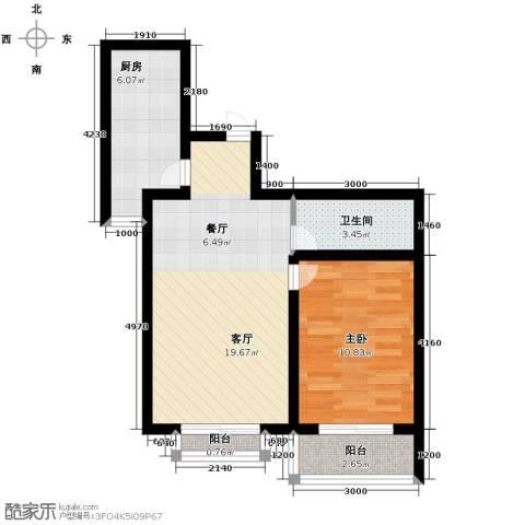 学院1号1室2厅1卫0厨64.00㎡户型图