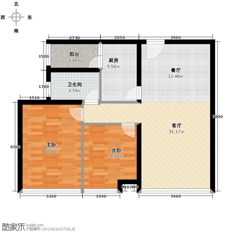 渤海新世界89.50㎡宝升昌广场户型2室2厅1卫