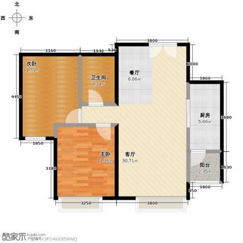 北京华贸城2室2厅1卫0厨93.00㎡户型图