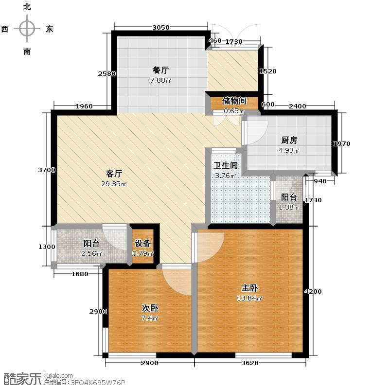 绿城理想之城85.00㎡西子公寓A4二居户型2室2厅1卫