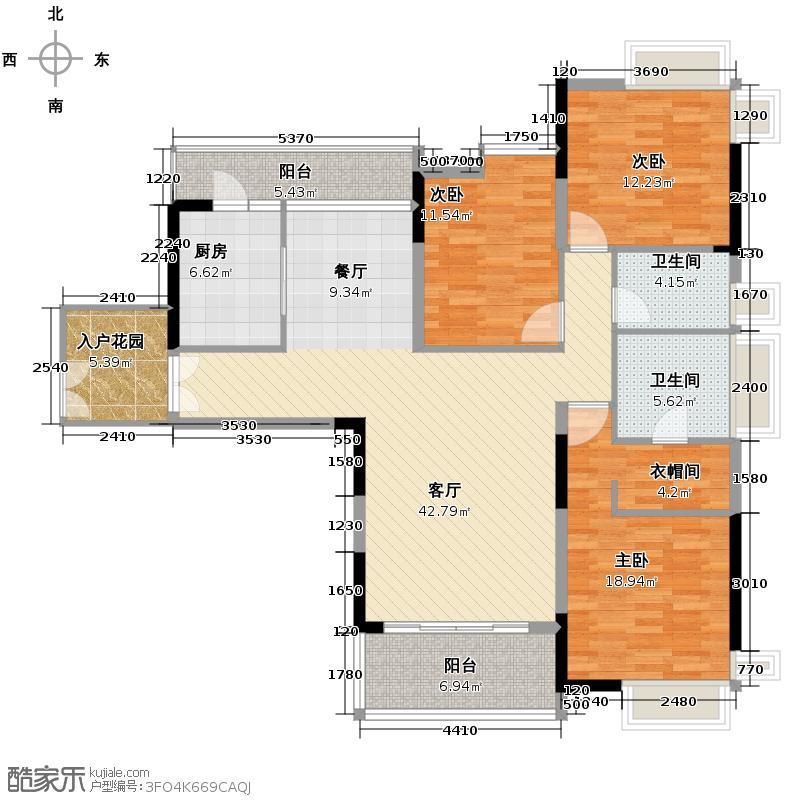 越秀星汇文宇146.00㎡13栋01户型3室2厅2卫