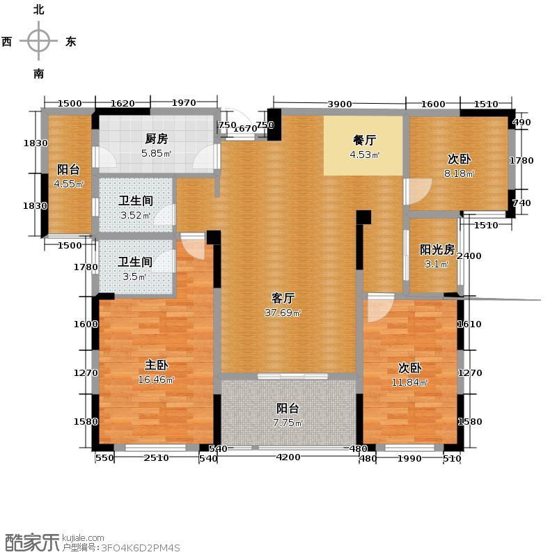 城改美景人家133.00㎡户型3室2厅2卫