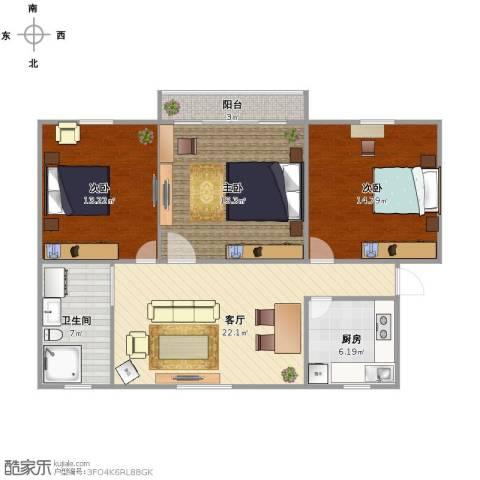 华家池校区3室1厅1卫1厨111.00㎡户型图