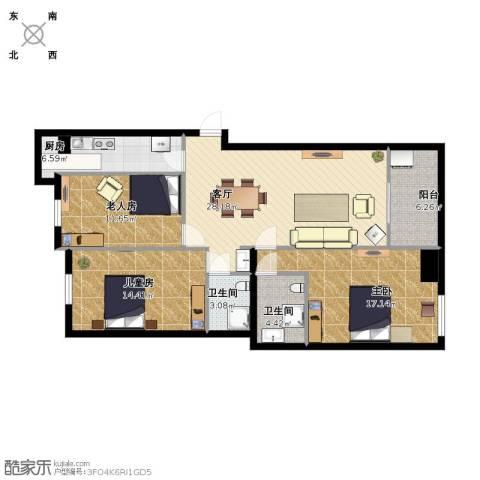 四季金辉3室1厅2卫1厨129.00㎡户型图