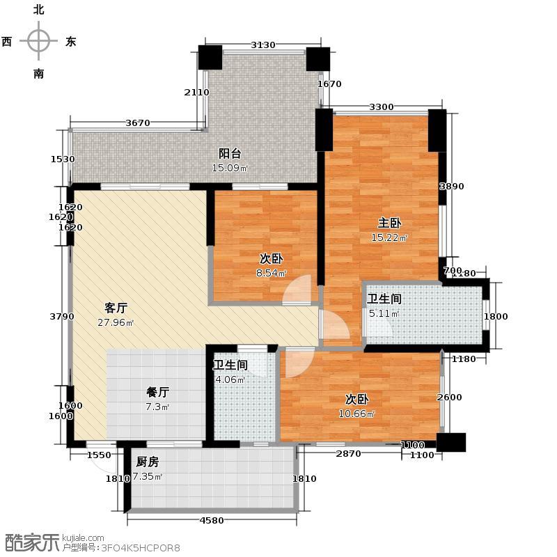 龙城1号82.00㎡H2型奇数层双卫户型3室2厅2卫