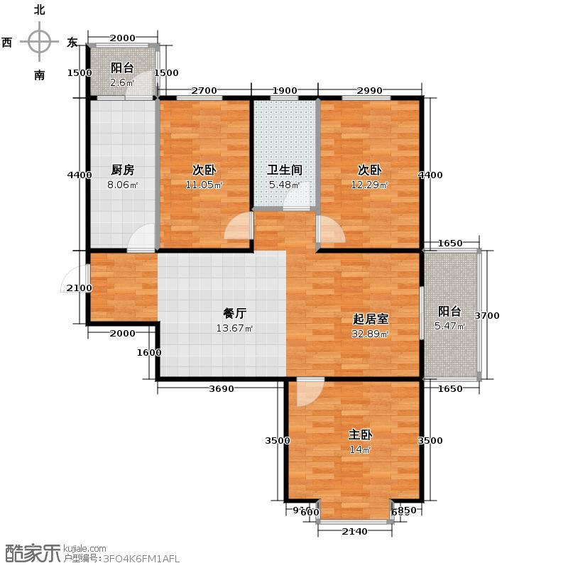 盛世家园120.00㎡1号楼A1户型3室2厅1卫