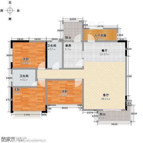 中建康城3室1厅2卫1厨126.00㎡户型图