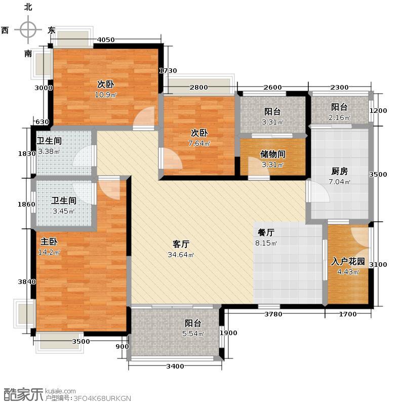 金牛万达广场119.00㎡E1双卫户型3室2厅2卫