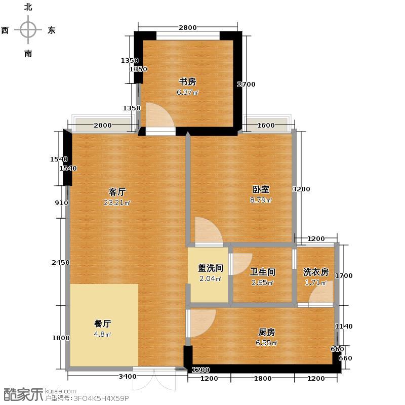 斌鑫中央国际公园49.84㎡一期24-26号楼标准层6户型1室2厅1卫