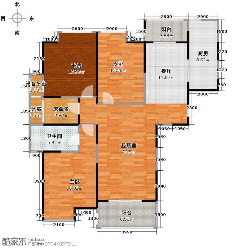 林隐天下133.00㎡二期林香庭23#A1私密主人系、餐厨一体、独立卫浴、方正全明书房户型3室1卫1厨