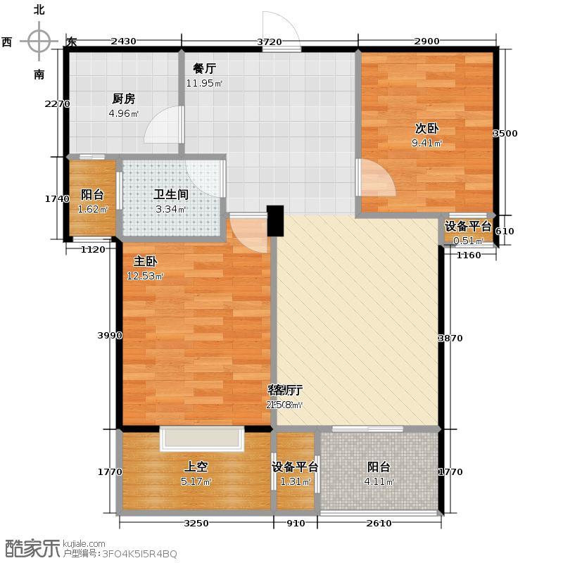 优客联邦77.00㎡2011年在售C3型-单卫-观景入户双阳台户型2室1厅1卫1厨