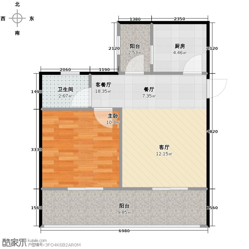 水乡中南海50.58㎡一期2号楼B户型10室