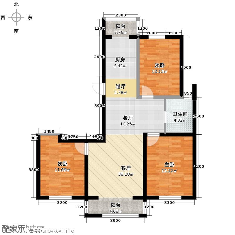 南湖明珠106.00㎡G户型3室2厅1卫