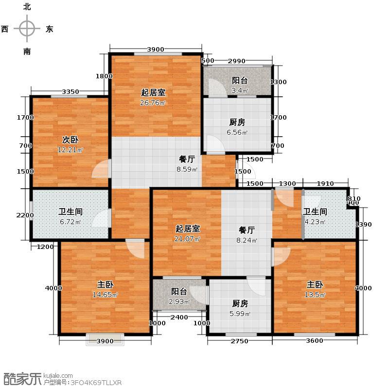 弘祥家园108.00㎡1、2、3#楼C单元首层户型10室
