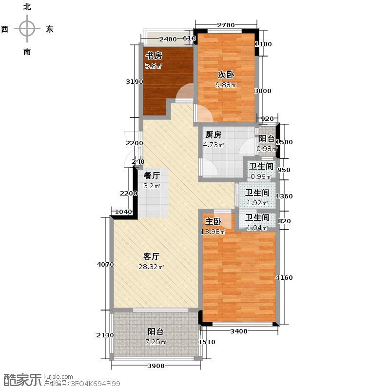 绿地公馆89.39㎡C双阳台户型3室2厅1卫