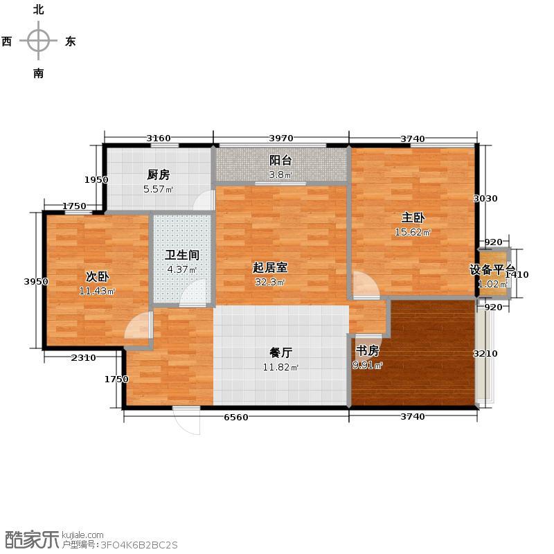 仁恒河滨花园112.00㎡E42/4号楼0户型3室1卫1厨