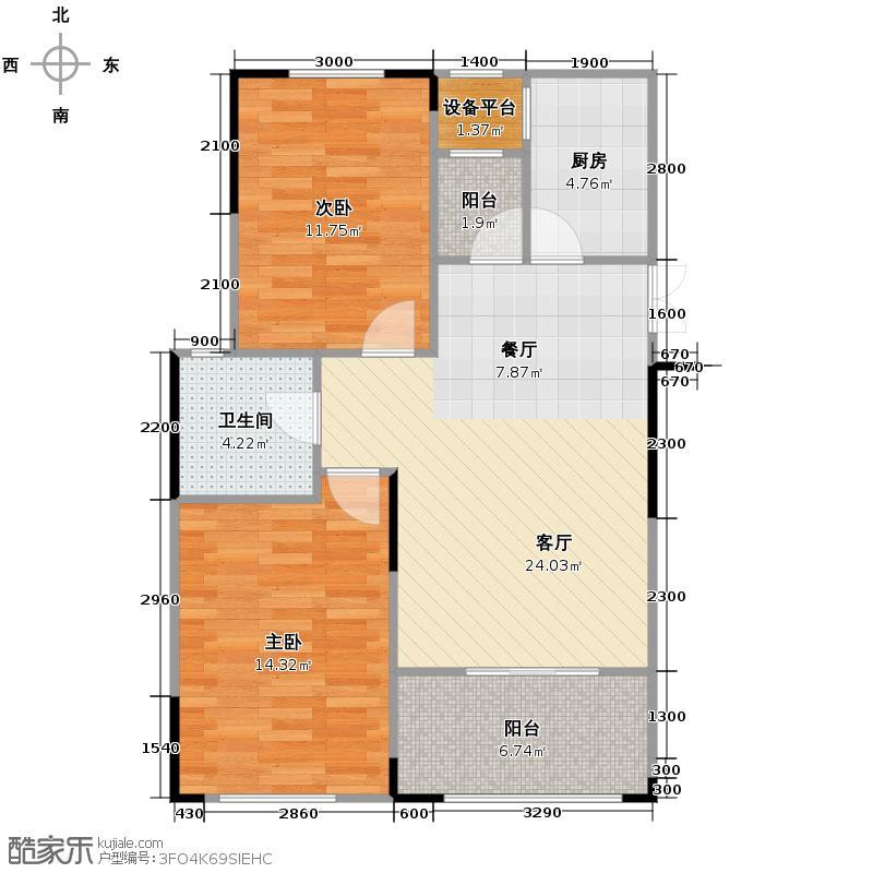 绿地公馆77.64㎡D-1双阳台户型2室2厅1卫