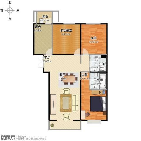 中信海港城2室1厅2卫1厨133.00㎡户型图