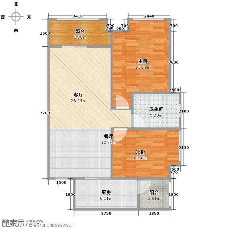 宫和御府香山77.00㎡小高层E2单卫赠送户型2室2厅1卫