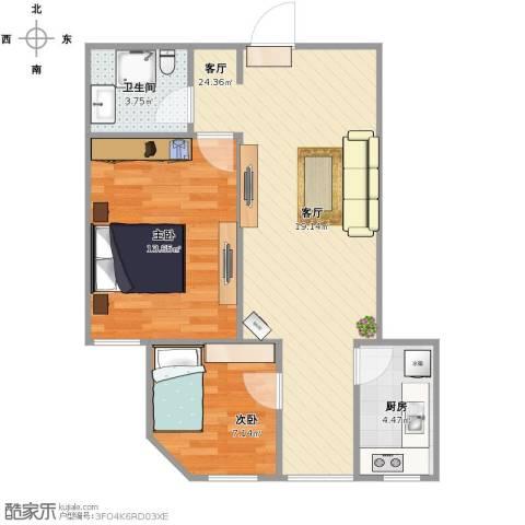 北街家园C区公寓2室1厅1卫1厨72.00㎡户型图