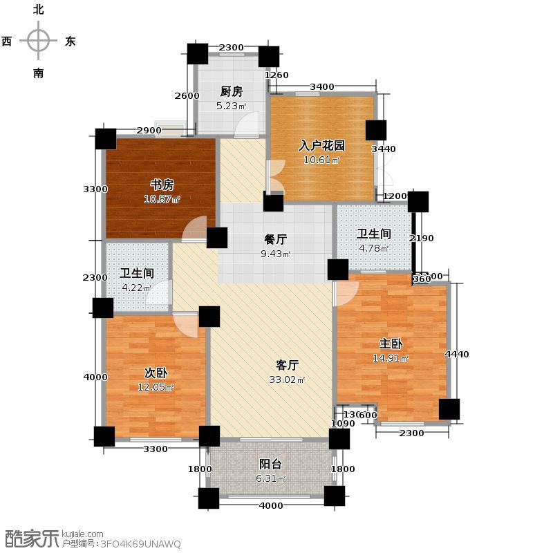 冠达豪景东苑122.00㎡E6户型3室2厅2卫