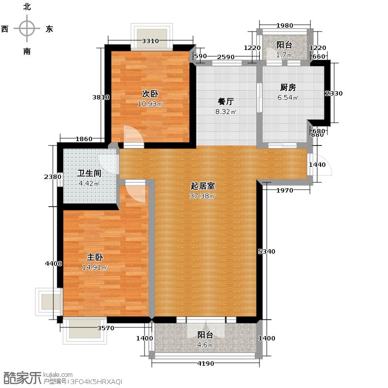 香水湾114.85㎡D1+户型2室2厅1卫