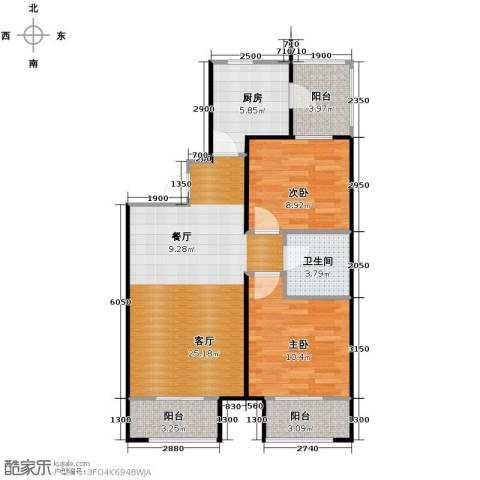 尚湖名筑2室1厅1卫1厨88.00㎡户型图